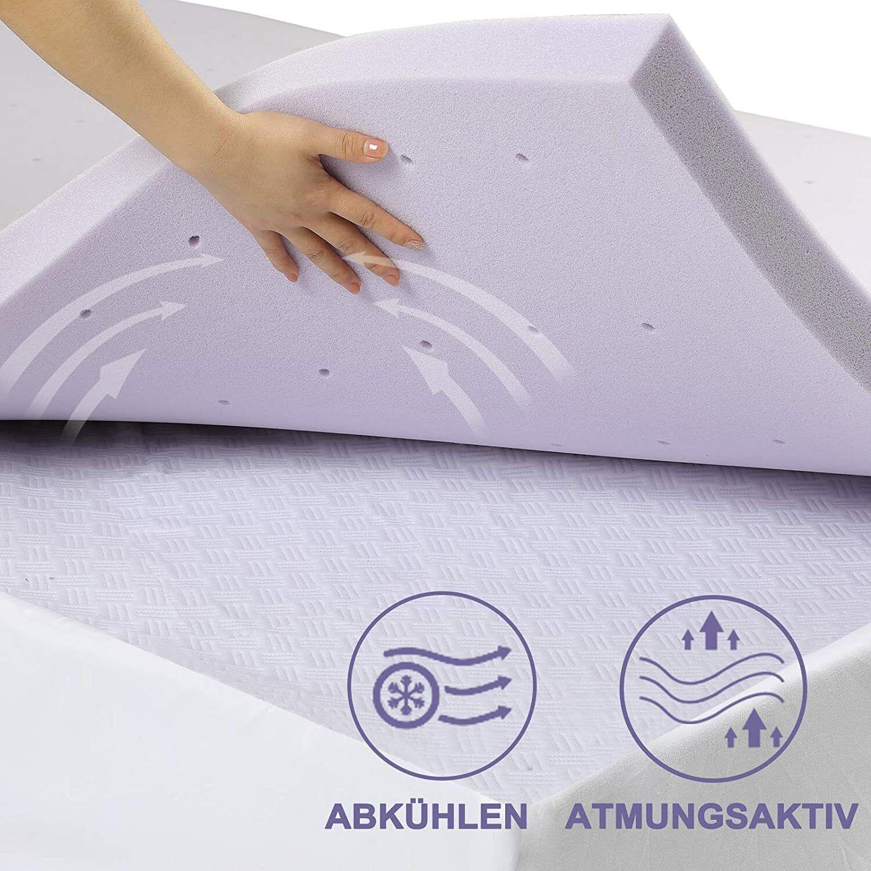 Bedstory Matratze Topper Memory Schaum Auflage Viscoschaum Lavendel 140x200x5 H2