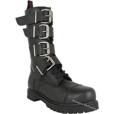 TNT 14 Loch Stiefel 4 Schnallen Side Zip Schwarz Rangers Leder Boots Stahlkappen | eBay
