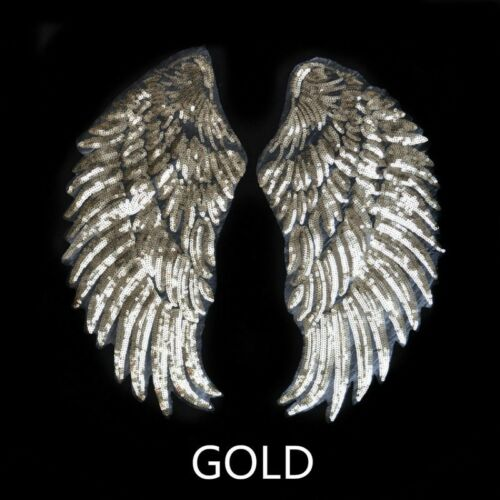 Pair Sequin Wing Embroidery Patch Applique Sew Craft Iron on Badge Costume Decor