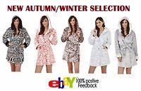 Womens Coral Luxury Fleece Bath Robe Ladies Super Soft Warm Hooded Dressing Gown