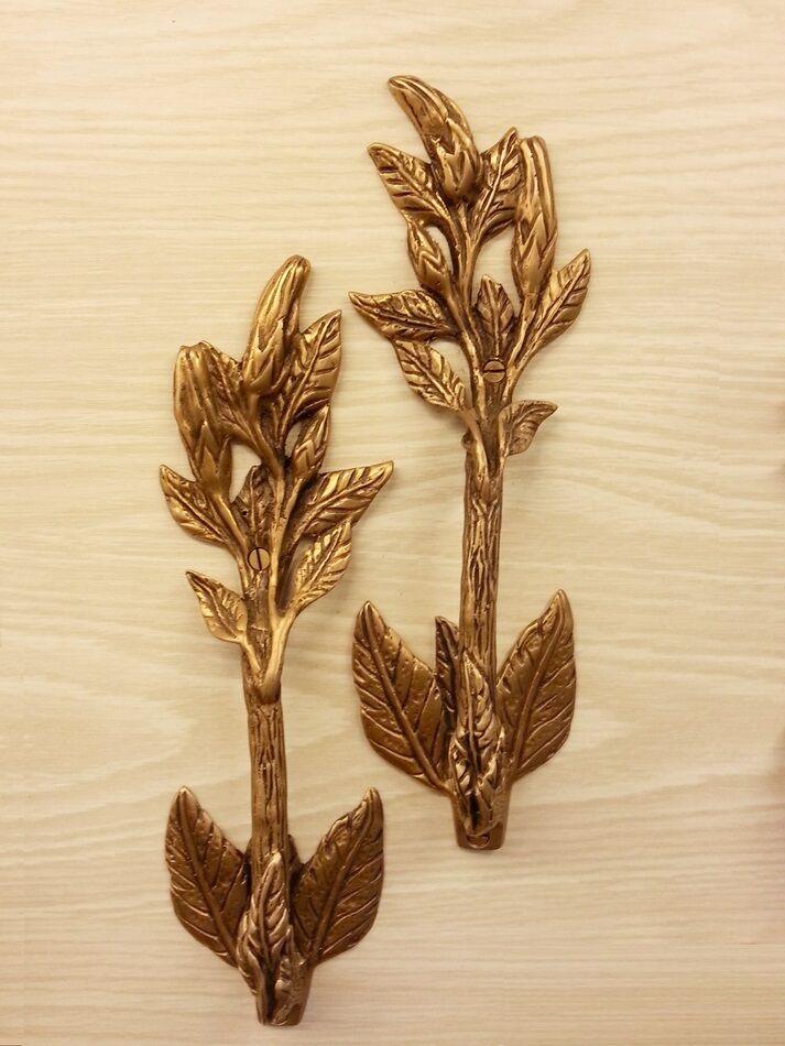 2x Brass Door Pull Handle Hibiscus Leaf Figurine Hand Door Cupboard Home Decor