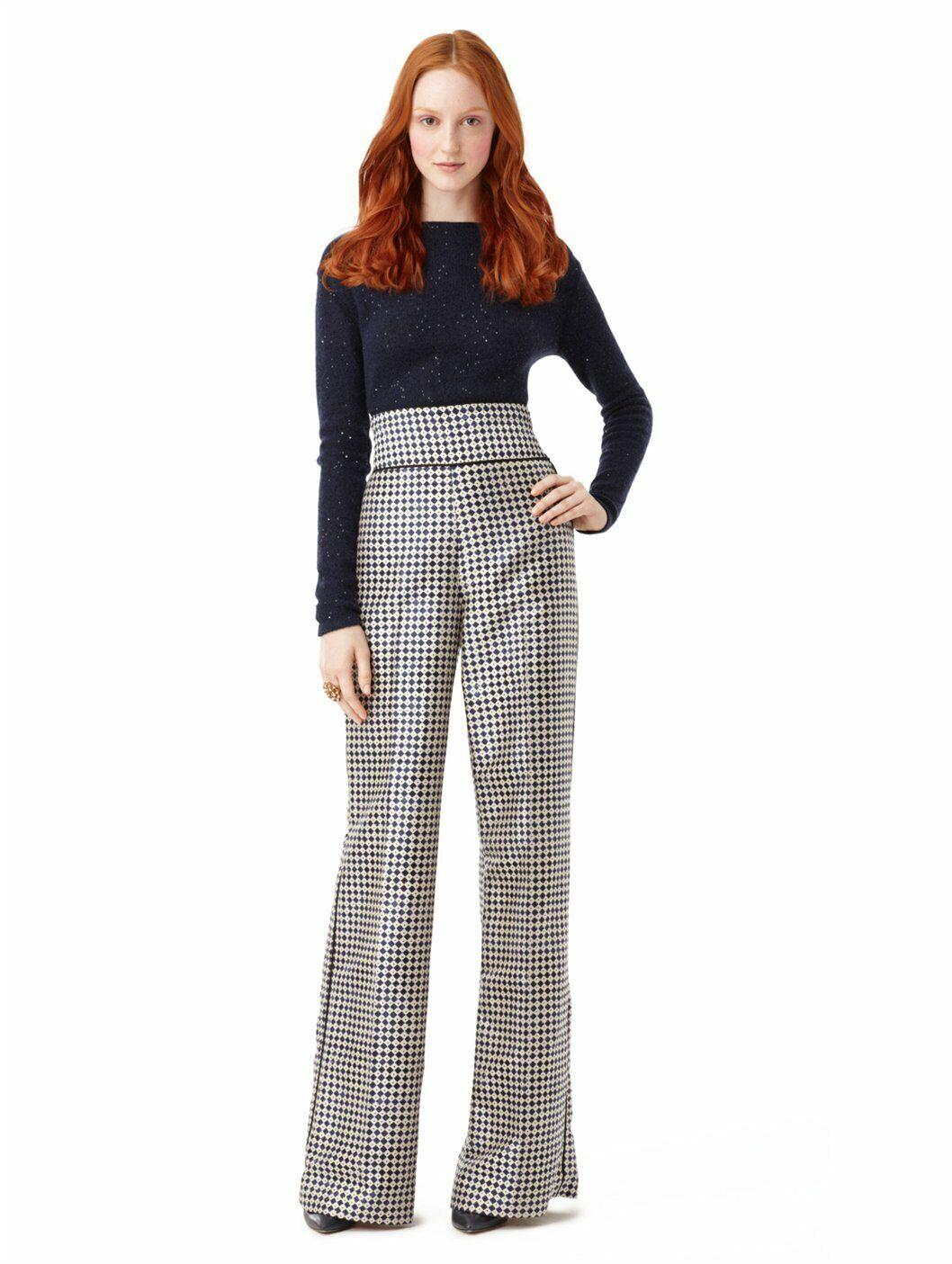 Oscar de La Renta NWT Size 2 Silk High Waist Diamond Print Wide Leg Pants