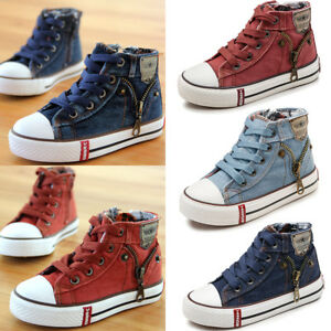 17880f2c695 Children Kids Boys Girls Canvas Shoes High Top Casual Comfortable ...