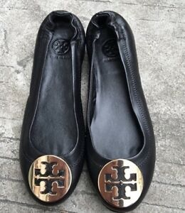 22513fb8b6967c Tory Burch  Minnie  Black Gold Leather Travel Ballet Flats SZ 6M