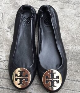 7d3a7c189 Tory Burch  Minnie  Black Gold Leather Travel Ballet Flats SZ 7M