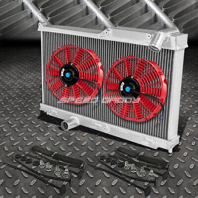 """3-ROW ALUMINUM RADIATOR+2X 12/""""FAN KIT RED FOR JDM 93-97 MAZDA RX-7//RX7 FD FD3S"""