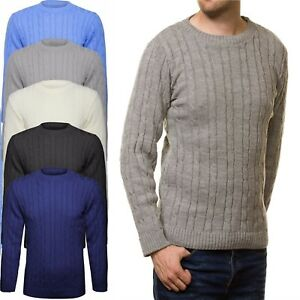 Men S Chunky Cable Knit Crew Neck Jumper Gents Top Plain