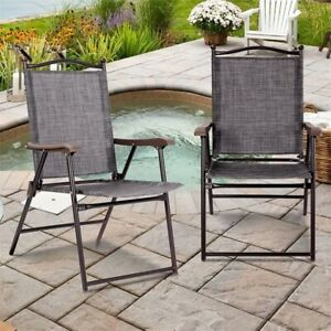 Admirable Details About Set Of 2 Patio Folding Sling Back Camping Deck Chairs Outdoor Garden Beach Gmtry Best Dining Table And Chair Ideas Images Gmtryco