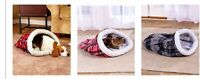 Plaid Pet Dog Or Cat Sleeping Bag Bed Mat Soft Warm Cozy Sherpa Lined 3 Colors