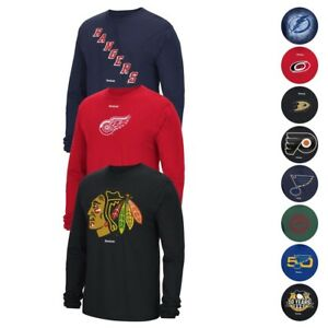 NHL-Assortment-of-Team-Graphic-Long-Sleeve-T-Shirt-Collection-by-REEBOK-Men-039-s