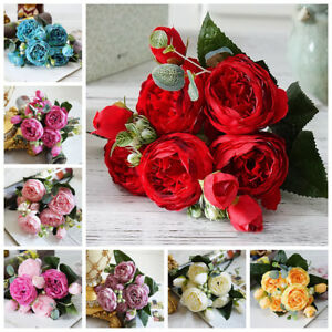 DIY-Craft-Silk-Bridal-Bouquet-Artificial-Flowers-Fake-Peony-Wedding-Decoration