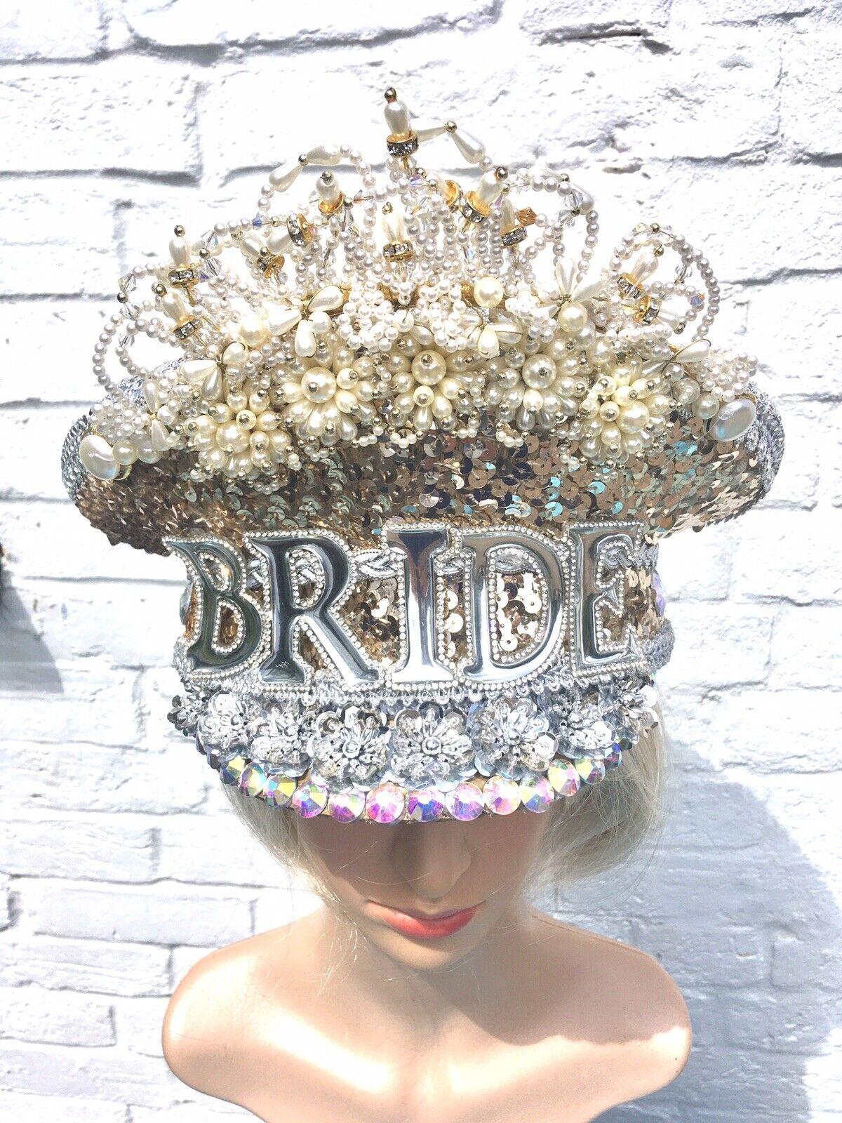 Sequinned Stunning Ornate Bride /wedding Hat