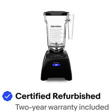 Blendtec Classic Fit Blender FourSide Jar 75oz Black Color Certified Refurbished