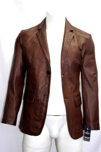 Harold New Tailored Fit Smart Look Style 2 Button Blazer Coat Brown Napa Leather