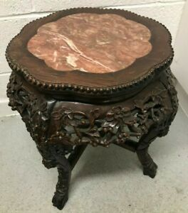 Late-19th-20th-Century-Chinese-Hardwood-amp-Marble-Side-Table-Plant-Stand