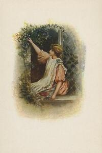 ANTIQUE-VICTORIAN-GIRL-PICKING-BLUE-GENTIAN-FLOWERS-LATTICE-WINDOW-HOUSE-PRINT