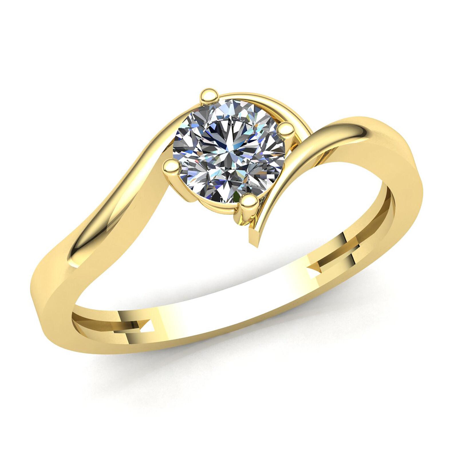 Natural 0.33carat Round Diamond Ladies Bridal Solitaire Engagement Ring 18K gold