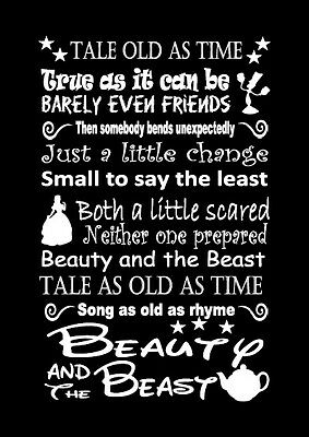 Disney Beauty And The Beast Lyric Inspired Canvas Or Print Poster Black Gift Ebay