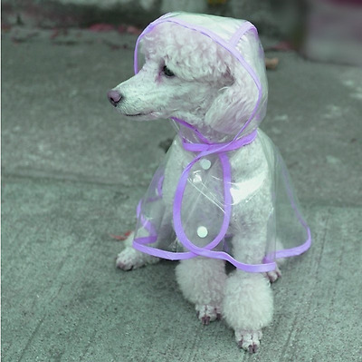 Pet Transparent Dog Waterproof Coat Raincoat Outdoor Jacket Puppy Clothes Hooded