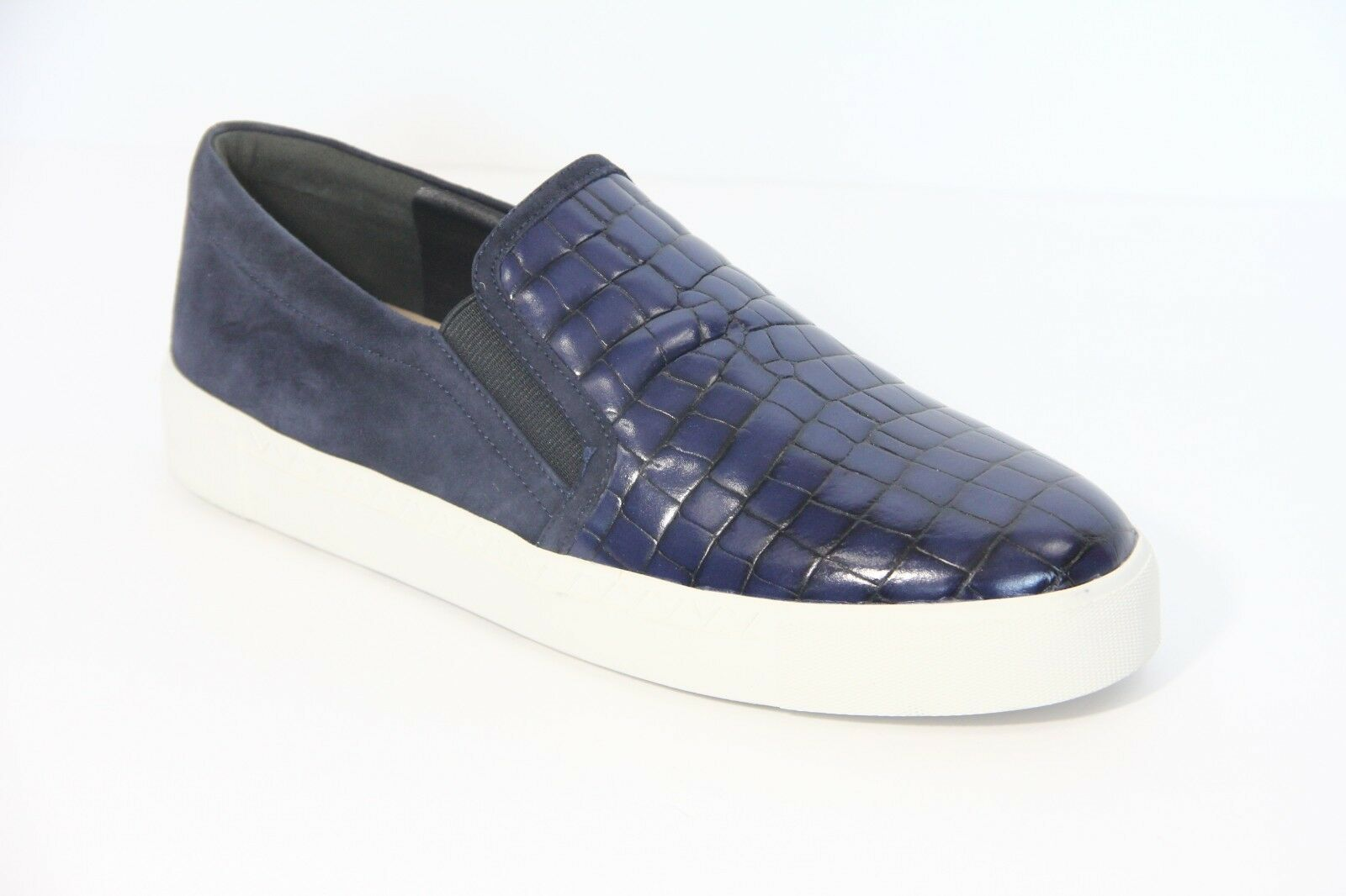Via Spiga Leather Sneakers sz 8.5 Maliah Slip On shoes Loafer Women navy bluee NEW