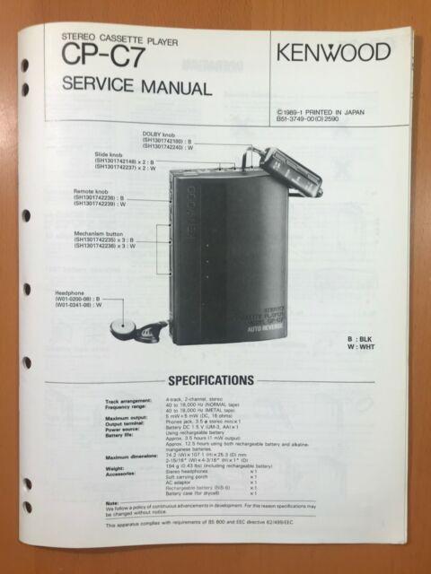 Kenwood Service Manual~CP-C7 Cassette Player~Original Repair Manual