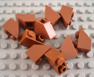 Lego 10 Reddish Brown 2x1 inverted brick block Slopes NEW