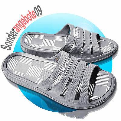 Badelatschen Badeschuhe Magnus Gr. 40 41 42 43 44 45 Schuhe siber grau Karro 81