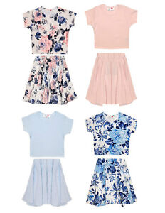 db538851c38 Girls MINX Crop Top   Skirt Set Floral   Pink   Pastel Blue 7 8 9 10 ...