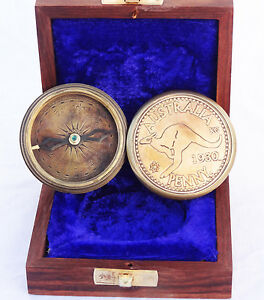 "2"" Antique Vintage Style Brass Pocket Compass W/wood Case Campaninig Hiking Antiques"