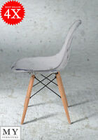 4 X Dsw Eames Style Eiffel Dining Office Chair Transparent Wooden Leg