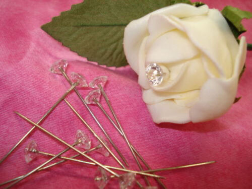 "100X 1.5/""Diamante Diamonte Pins Wedding Buttonholes Bouquet Florist Work FY"