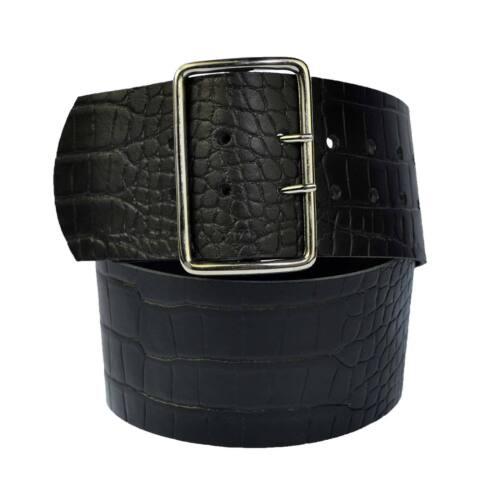 7cm LARGA VERA PELLE CINTURA colore /& lunghezza selezionabile 4 ottagonale fibbia a rullo