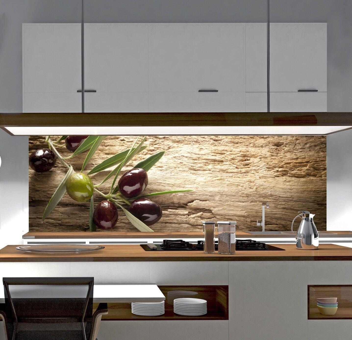 Komplett Küchen U0026 Ausstattung Sonstige KÜCHENRÜCKWAND Spritzschutz Küche  Gehärtetes Glas Rückwand Olive Natur Hölzern