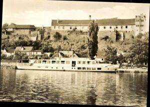 Postcard-Ak-Sw-Used-Wettin-Saalkreis-Castle-and-Passenger-Ship-Saxony-Anhalt