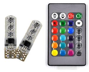 BD/_2 T10 6SMD 5050 RGB LED Car Wedge Side Light Reading Lamp Bulb+Remote-Control