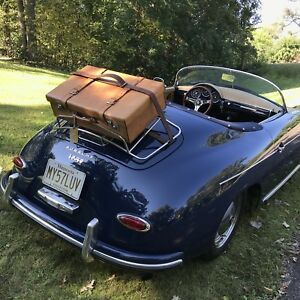 RARE-CLEAN-VINTAGE-BELTING-SADDLE-LEATHER-CLASSIC-CAR-RACK-SUITCASE-R-2295