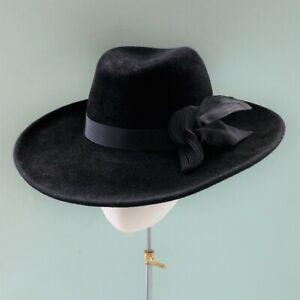 Wide Brim Ladies Black FEDORA Hat Velour Peachbloom Felt - Vintage Handmade Trim