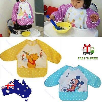 Cute Baby Toddler Waterproof Long Sleeve Bib Children Kids Feed Smock Apron Hot