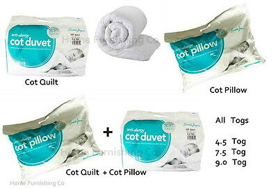 Cot Pillow Anti-Allergy Toddler Baby Cot Bed Duvet Quilt 4.5 and  9 Tog 7.5