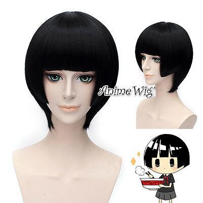 Axis Powers HETALIA Cosplay Honda Kiku Perücke Schwarz Wavy Anime Gelatt Wig TOP