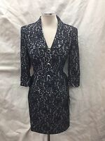 Albert Nipon Skirt Suit/new With Tag/retail$280/size 8/navy/lace /3/4 Sleeve