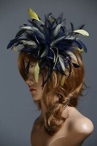Image Is Loading Navy Blue Amp Yellow Fascinator Hat Any Satin