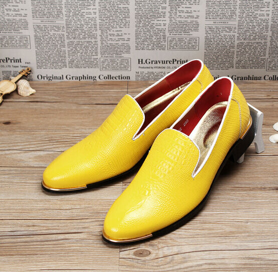Men Business Slip On Pointed Toe Punk Loafer Dress Formal shoes Black yellow Red