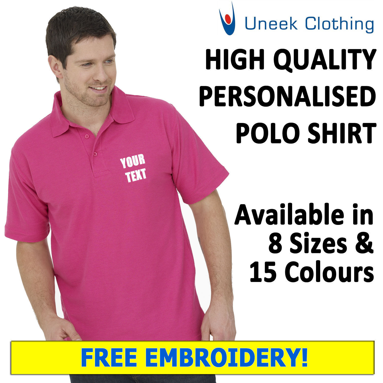 NEW 10 x Personalised Uneek EmbroideROT Polo Shirts, Workwear, Customised Polos