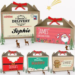 Personalised-Vigilia-di-Natale-Scatola-Regalo-Natale-Festa-Favore-presenti-2-dimensioni-con-fiocco