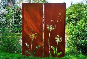 Gartenwand Sichtschutz Wand Diptychon Pusteblume Stahl rost 150x195 ...