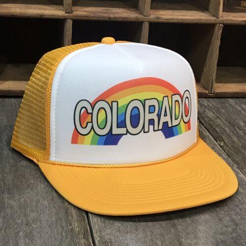 Colorado Rainbow Trucker Hat Vintage 80s Style Cap SnapBack Vacation Party Pride