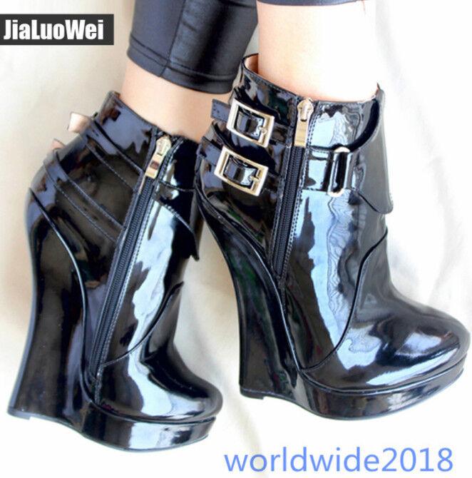 17cm Cosplay Lackleder europäischen Keil High Heel Dress Schuhe Stiefeletten 44