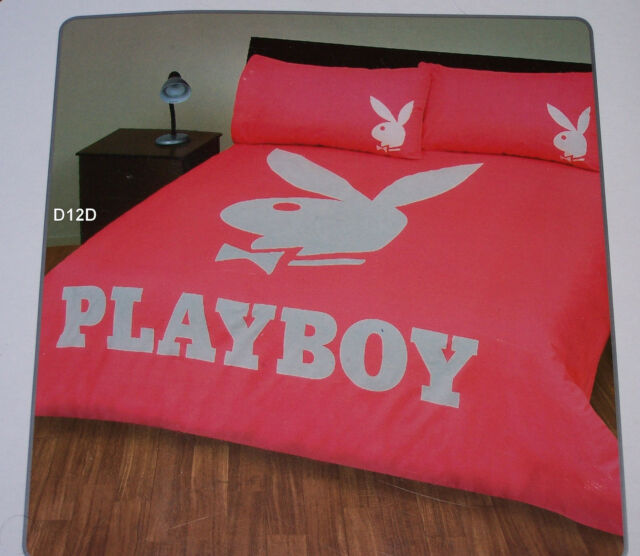 Playboy Bunny Logo Pink White King Bed Quilt Cover Set New