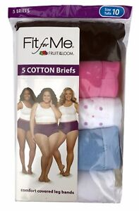 Fit for Me® by Fruit of the Loom® Women's Cotton Briefs 5-Pack      100% Cotton